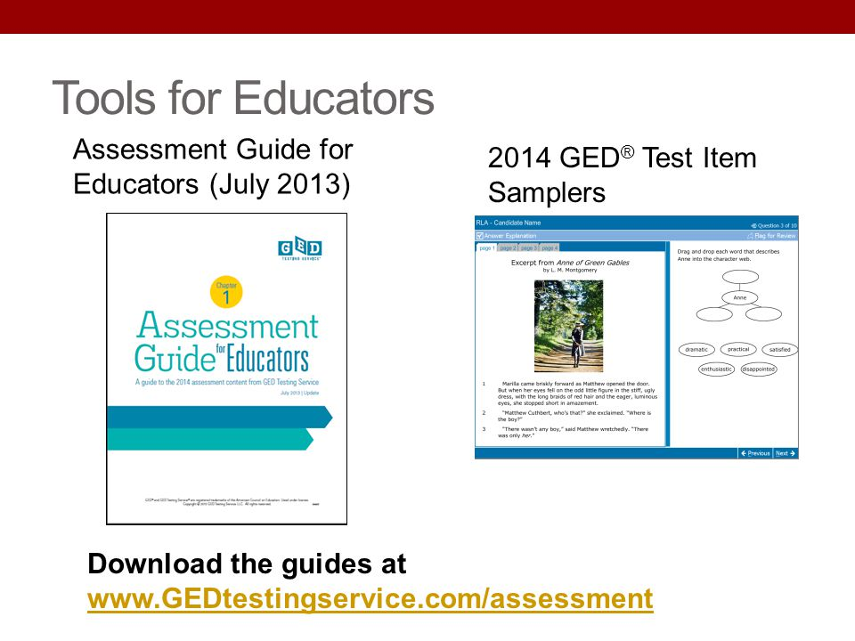 Tools for Educators Assessment Guide for Educators (July 2013)