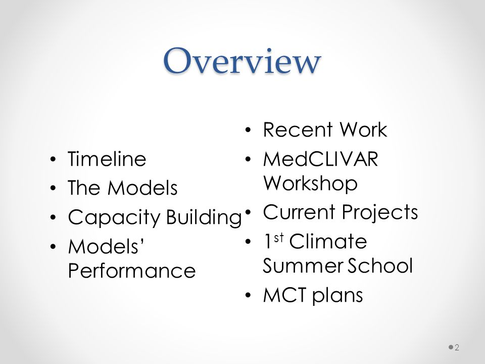 Overview Recent Work Timeline MedCLIVAR Workshop The Models