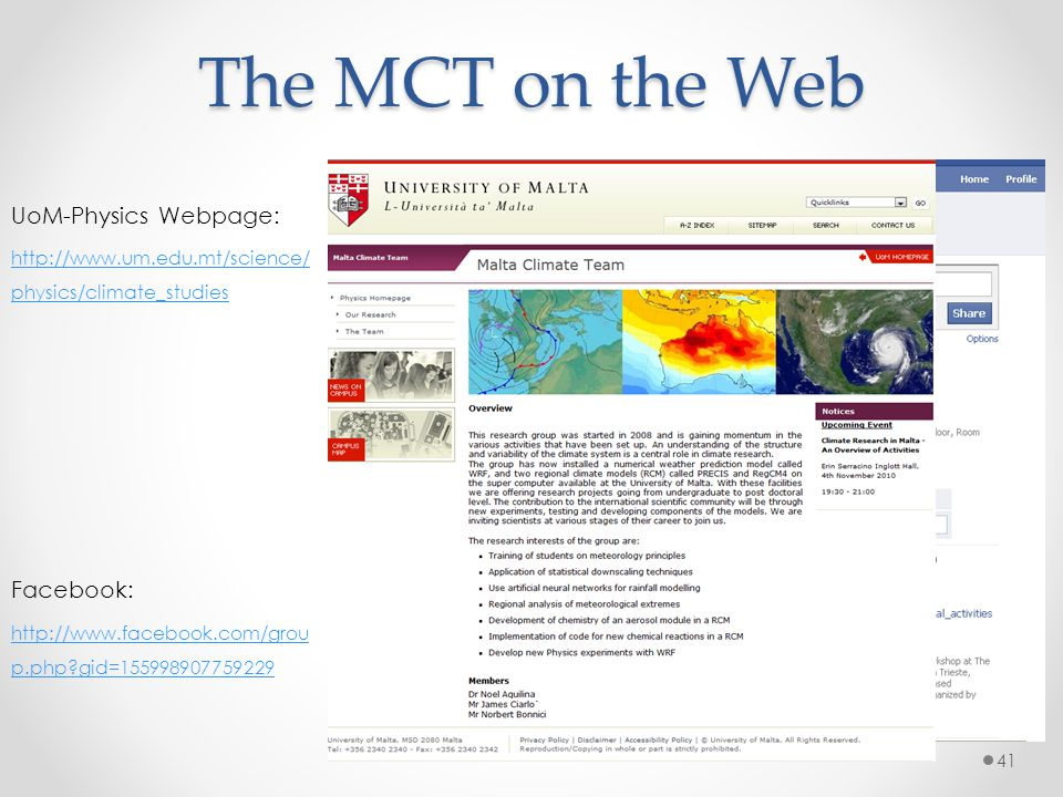 The MCT on the Web UoM-Physics Webpage: Facebook: