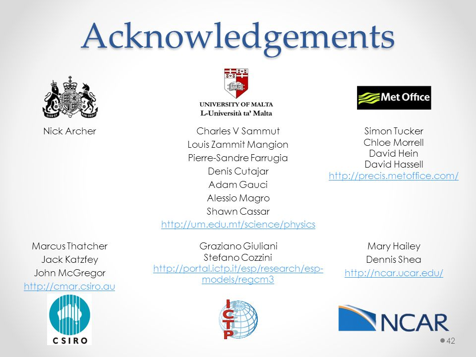 Acknowledgements Nick Archer Charles V Sammut Louis Zammit Mangion