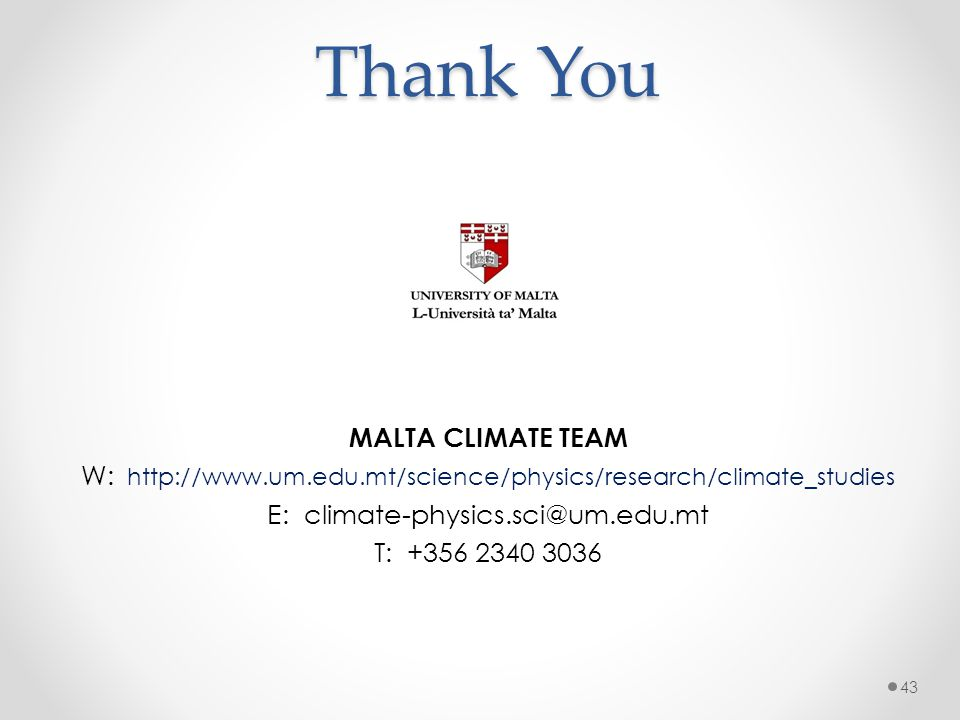 Thank You MALTA CLIMATE TEAM