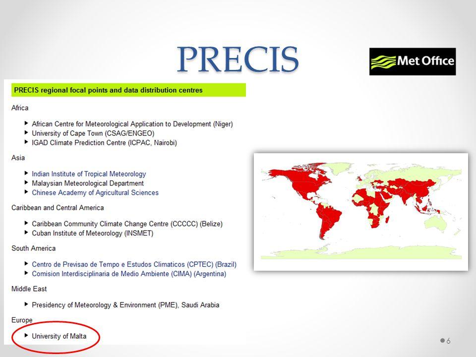 PRECIS mention GCM v RCM Providing REgional Climate Impact Studies