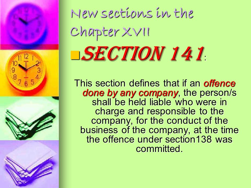 New sections in the Chapter XVII