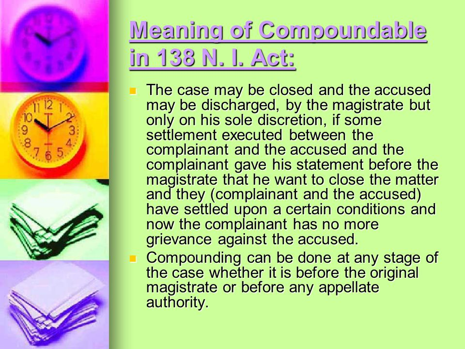 Meaning of Compoundable in 138 N. I. Act: