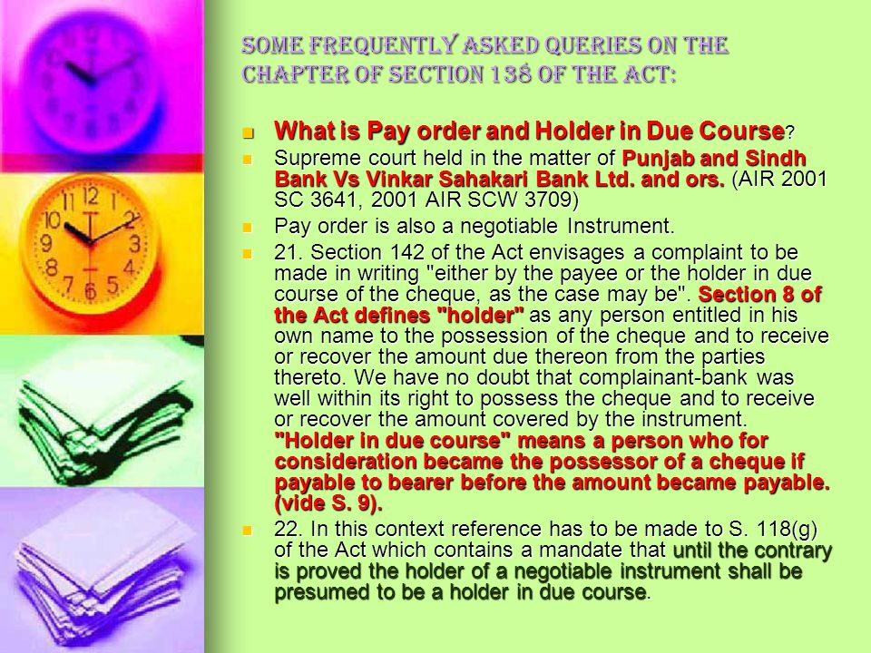 What is Pay order and Holder in Due Course
