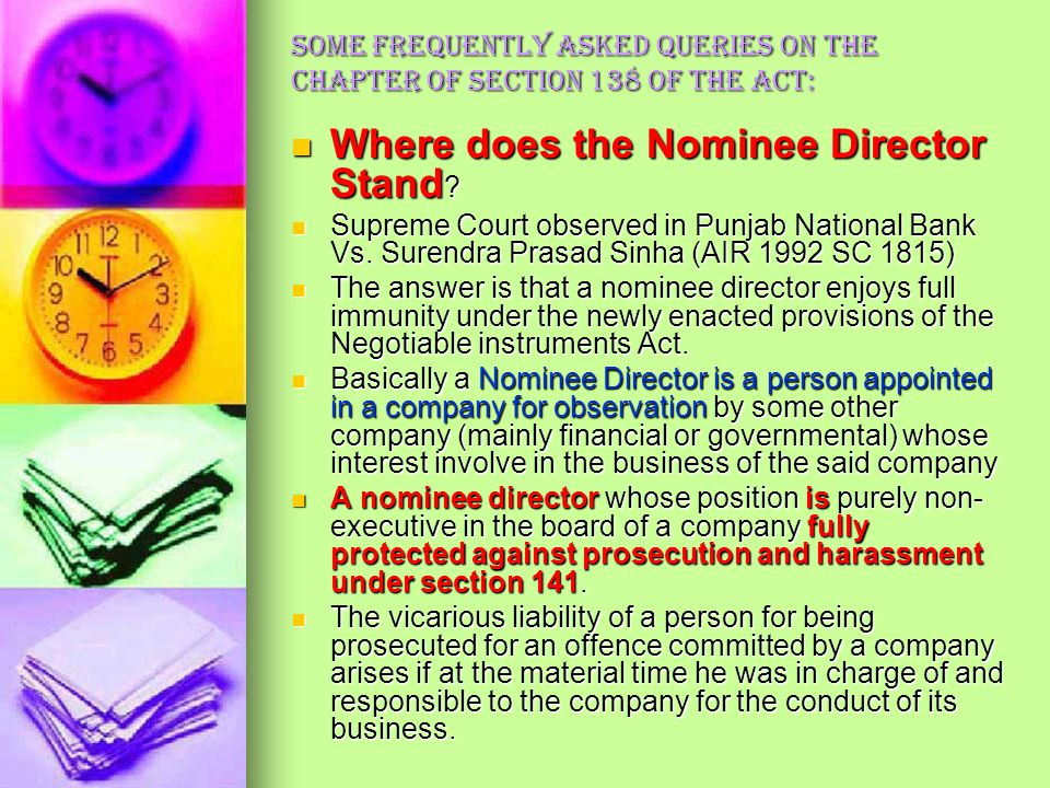Where does the Nominee Director Stand