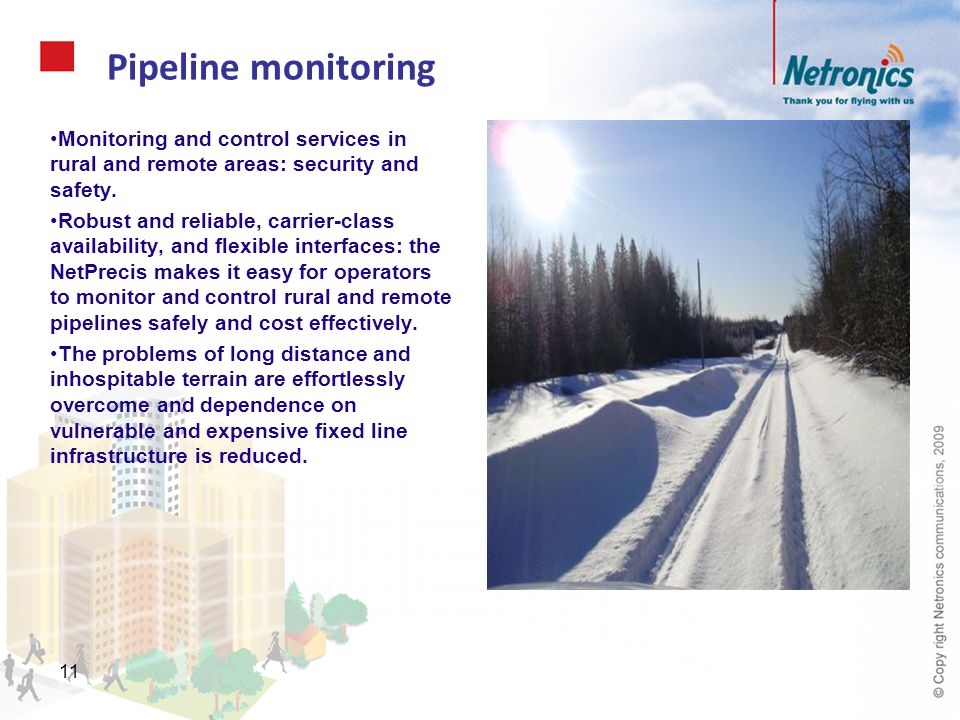 Pipeline monitoring Monitoring and control services in rural and remote areas: security and safety.