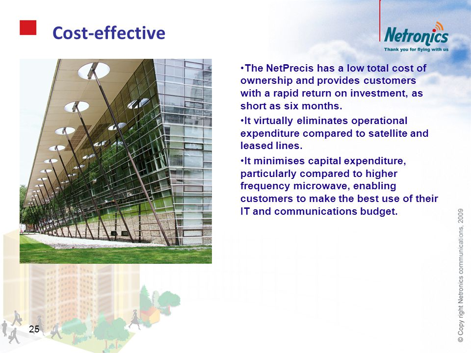 Cost-effective The NetPrecis has a low total cost of ownership and provides customers with a rapid return on investment, as short as six months.