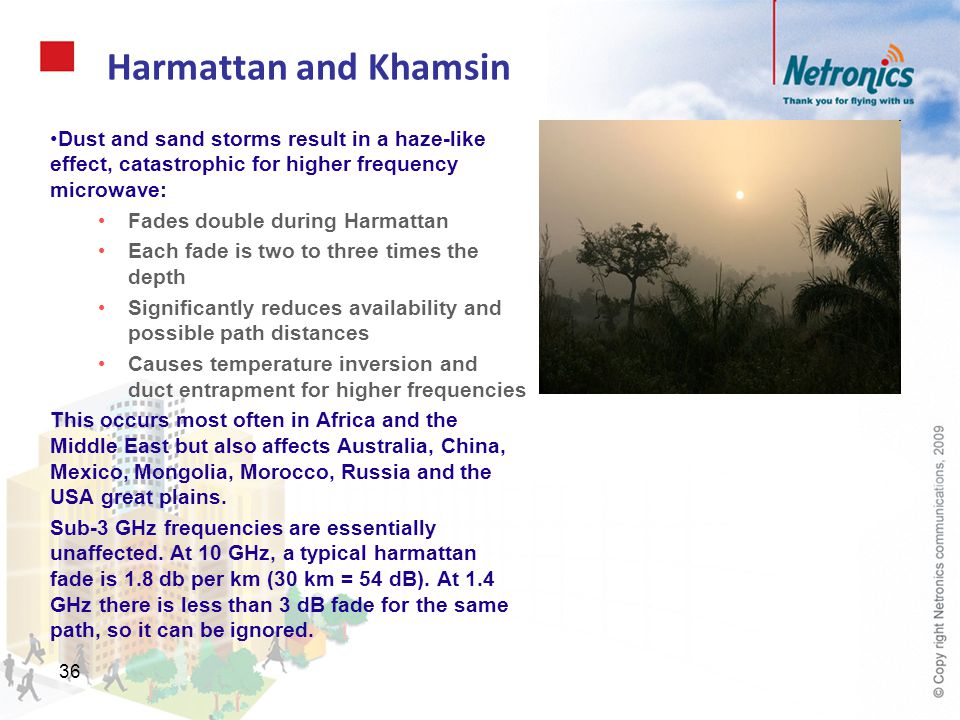 Harmattan and Khamsin Dust and sand storms result in a haze-like effect, catastrophic for higher frequency microwave: