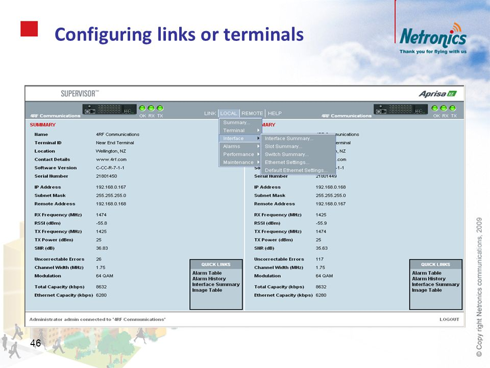 Configuring links or terminals