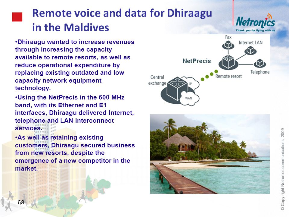 Remote voice and data for Dhiraagu in the Maldives