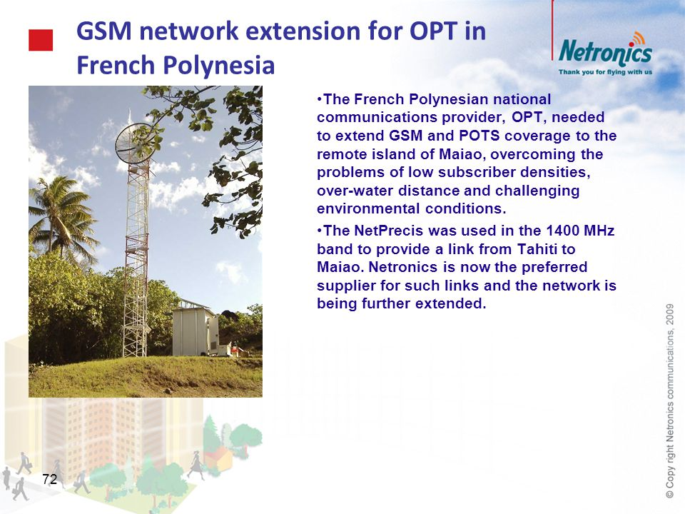 GSM network extension for OPT in French Polynesia