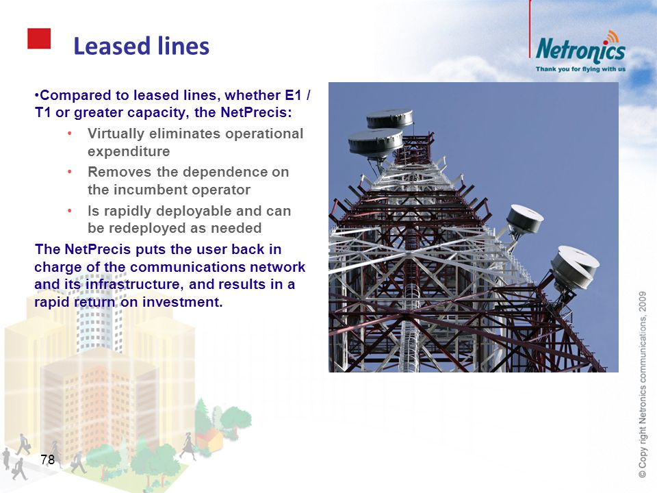 Leased lines Compared to leased lines, whether E1 / T1 or greater capacity, the NetPrecis: Virtually eliminates operational expenditure.