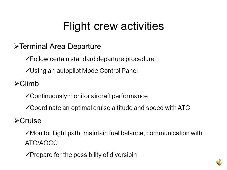Flight crew activities