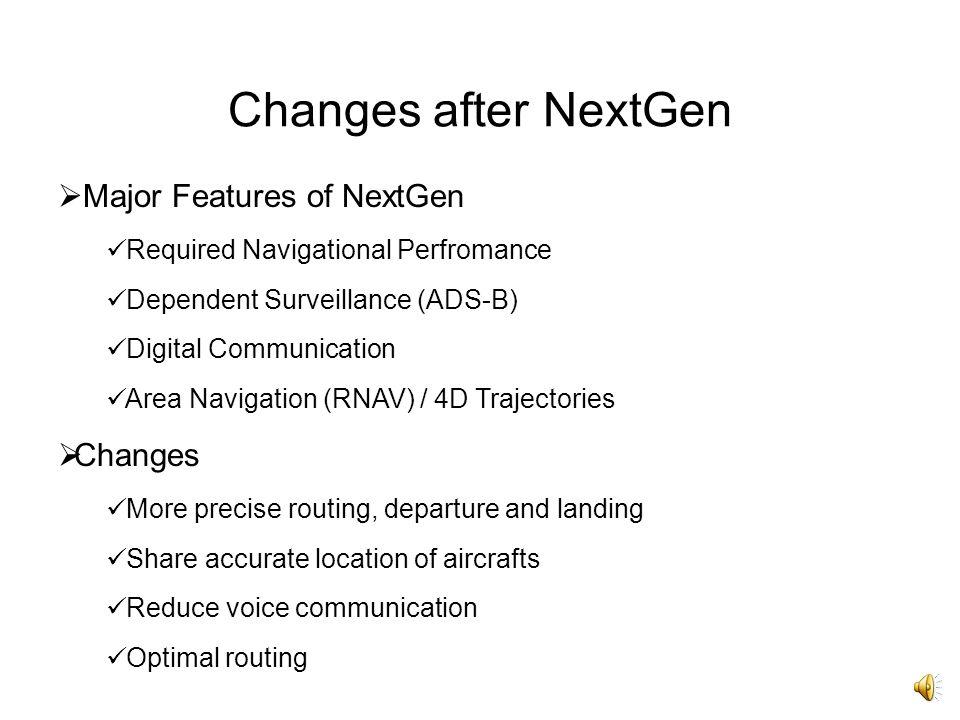 Changes after NextGen Major Features of NextGen Changes