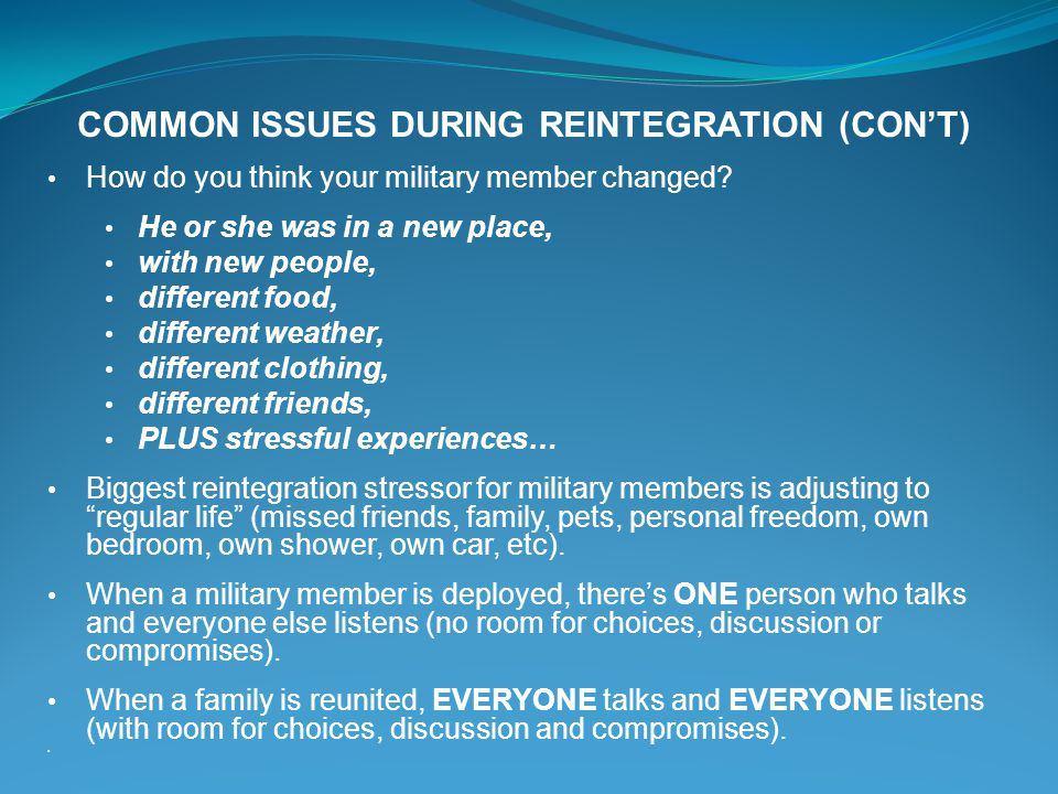 COMMON ISSUES DURING REINTEGRATION (CON'T)