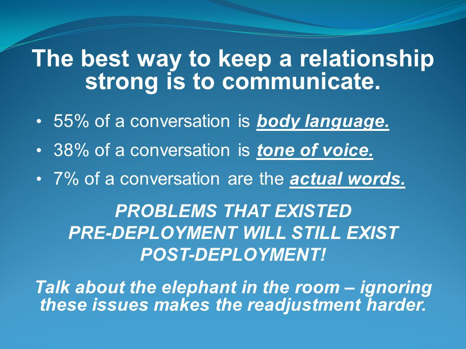 The best way to keep a relationship strong is to communicate.