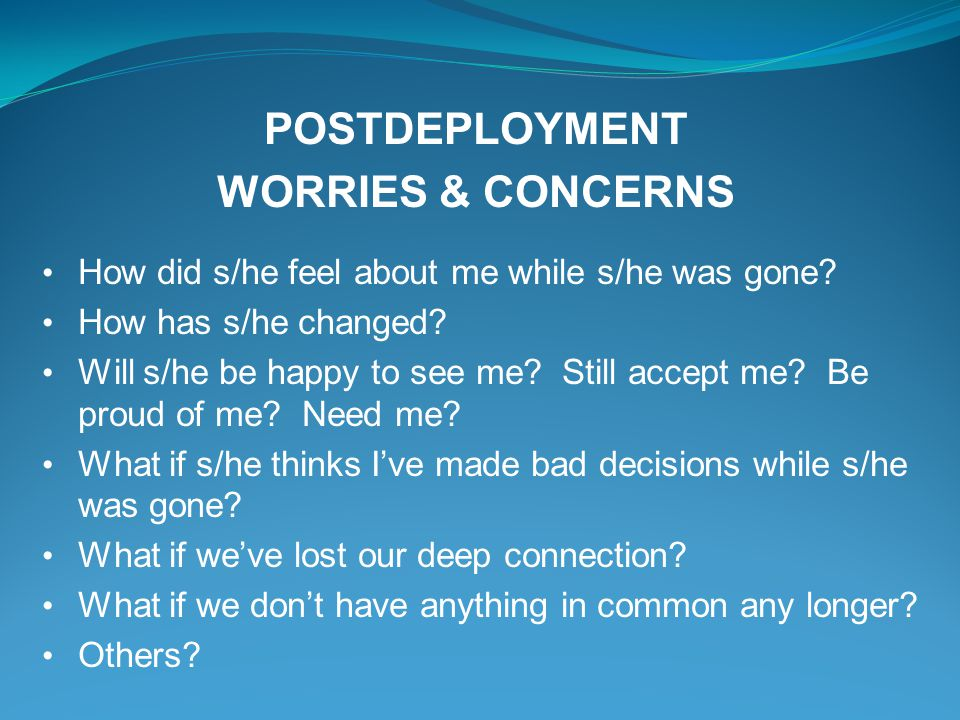 POSTDEPLOYMENT WORRIES & CONCERNS