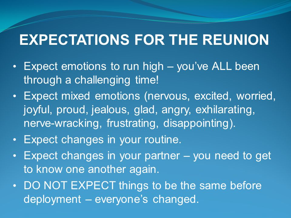 EXPECTATIONS FOR THE REUNION