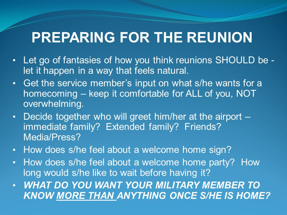 PREPARING FOR THE REUNION