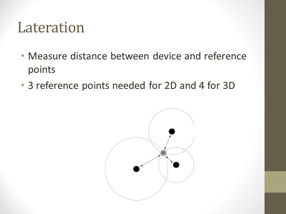 Lateration Measure distance between device and reference points