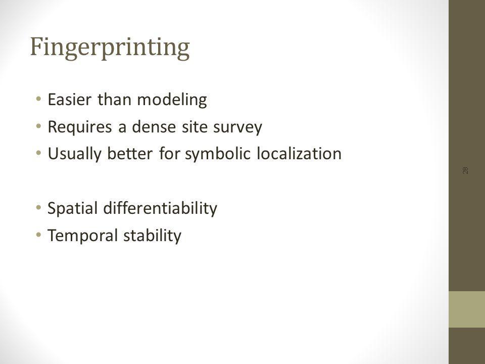 Fingerprinting Easier than modeling Requires a dense site survey
