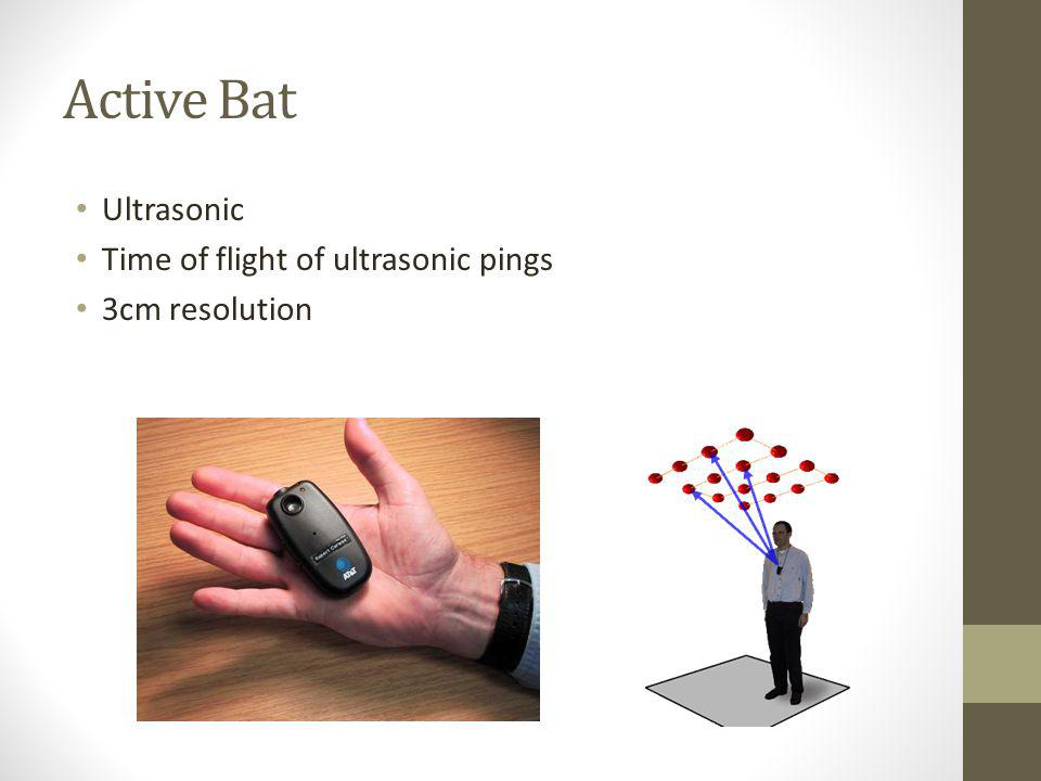 Active Bat Ultrasonic Time of flight of ultrasonic pings