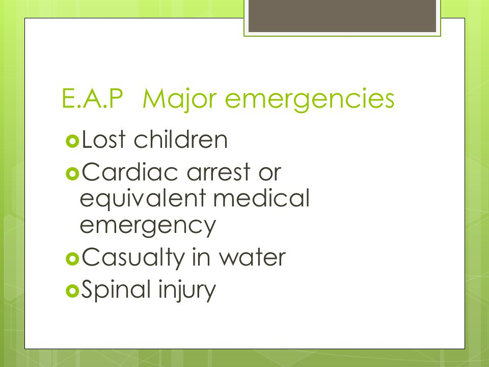 E.A.P Major emergencies Lost children