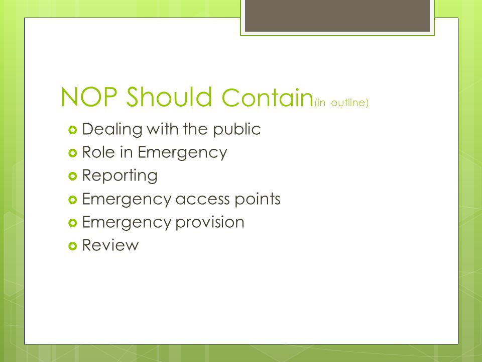 NOP Should Contain(in outline)