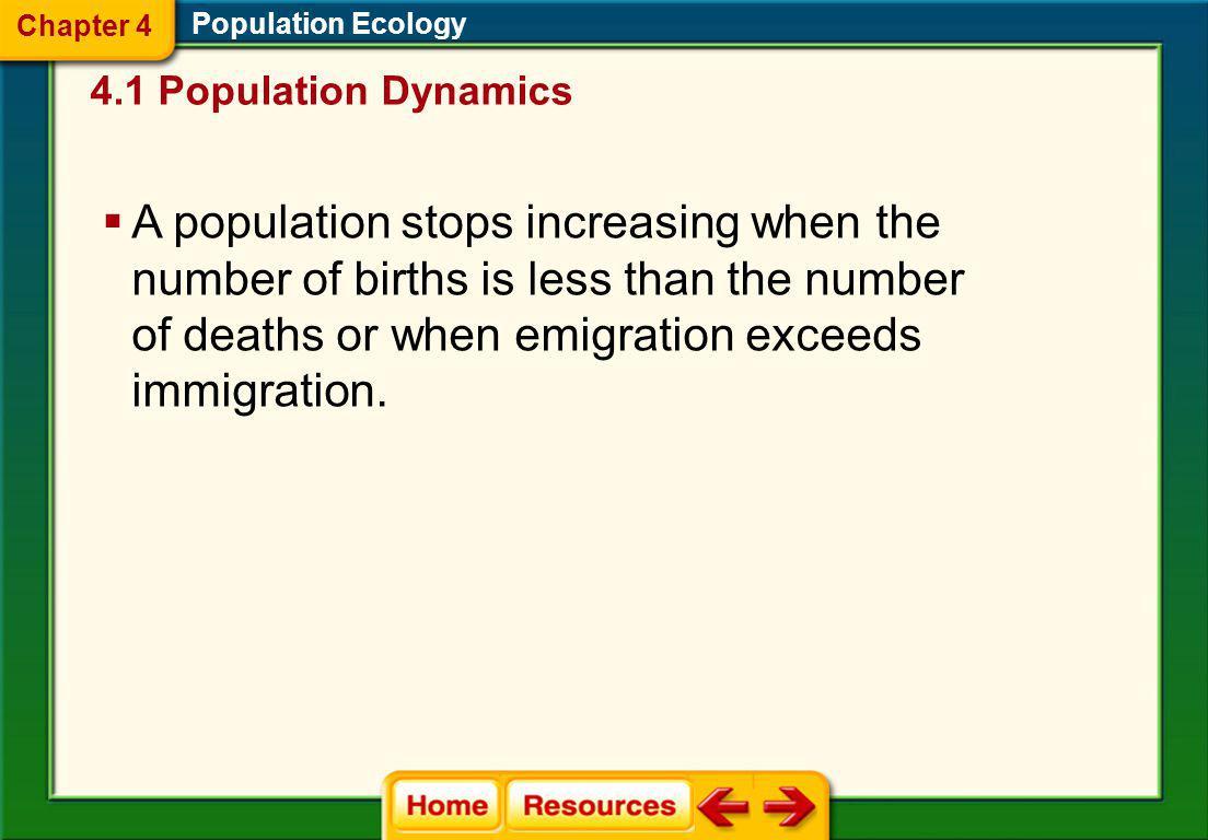 Chapter 4 Population Ecology. 4.1 Population Dynamics.