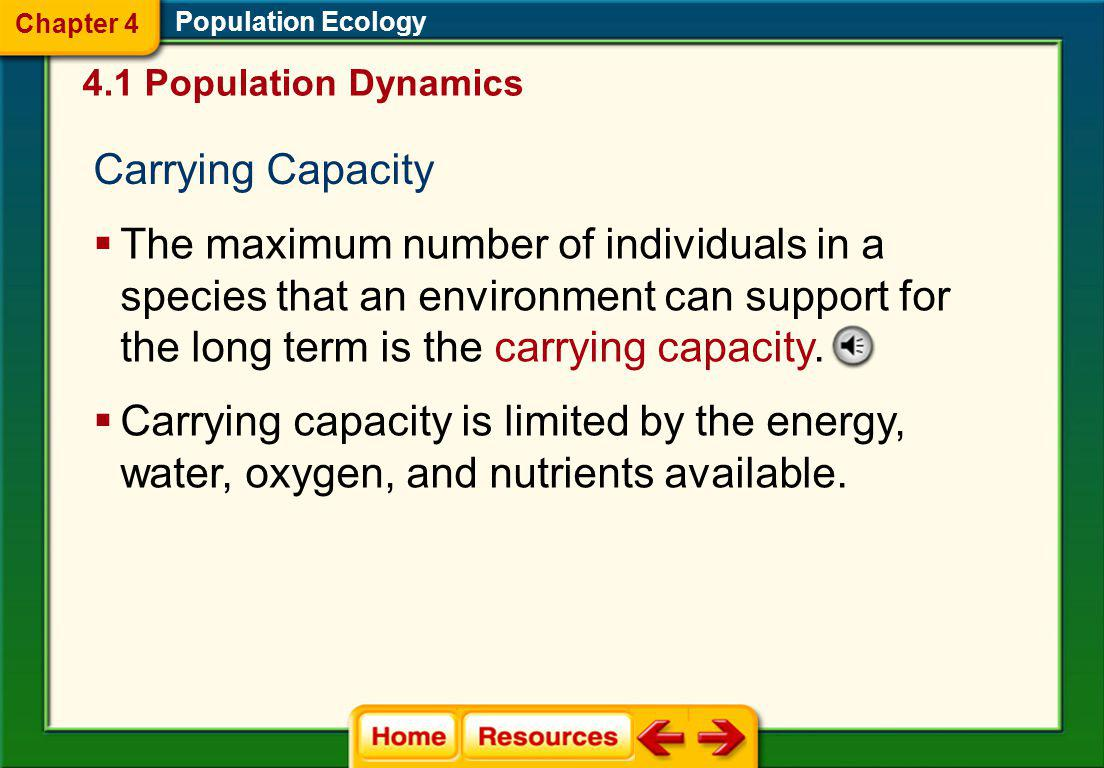 Chapter 4 Population Ecology. 4.1 Population Dynamics. Carrying Capacity.