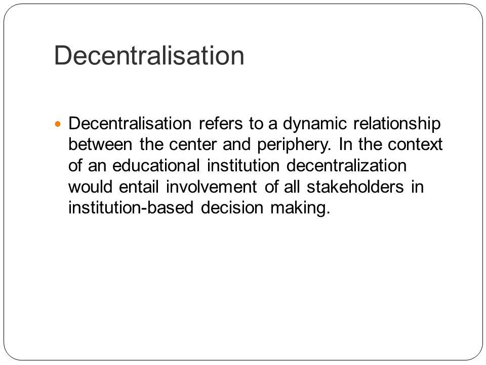 Decentralisation