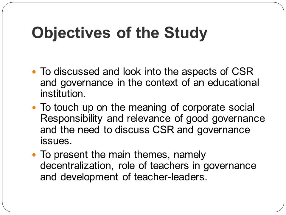 objective of the study of 6