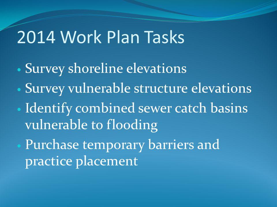 2014 Work Plan Tasks Survey shoreline elevations