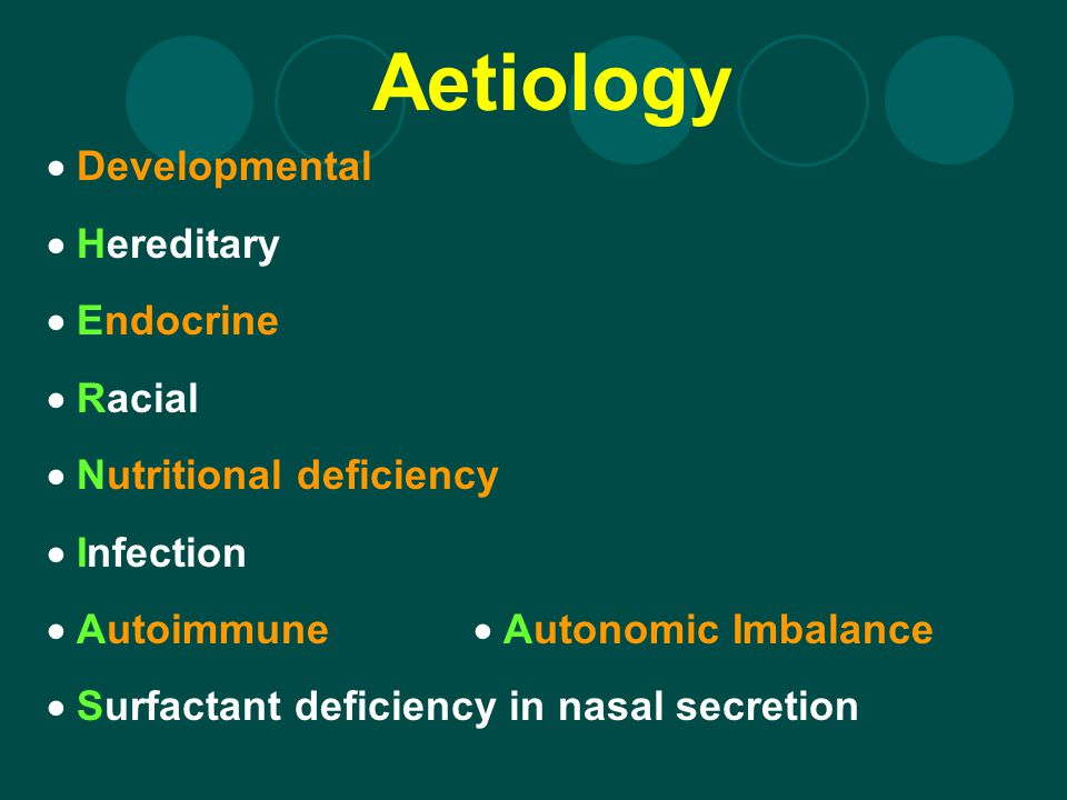 Aetiology  Developmental  Hereditary  Endocrine  Racial