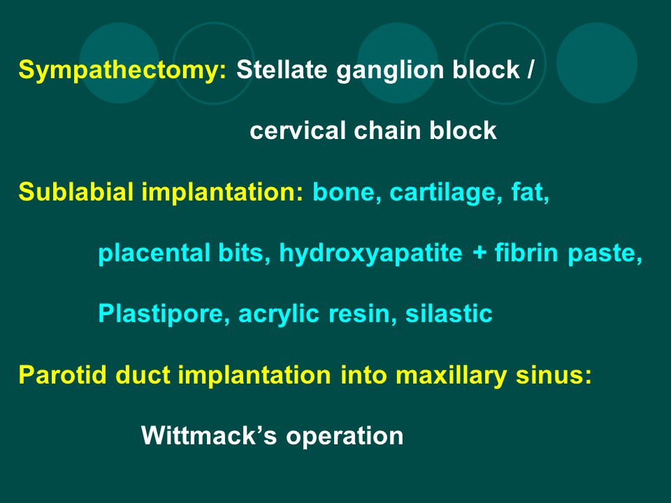 Sympathectomy: Stellate ganglion block /