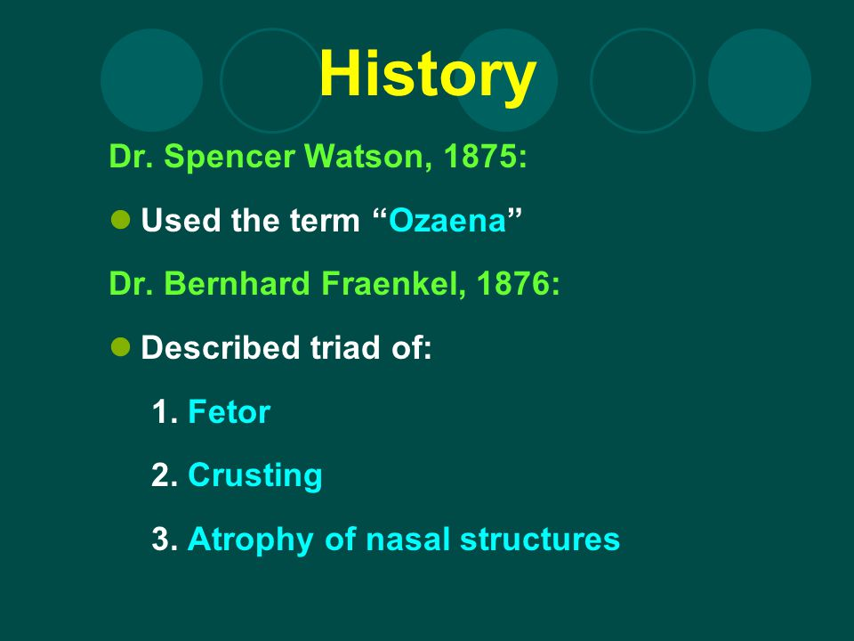 History Dr. Spencer Watson, 1875: Used the term Ozaena