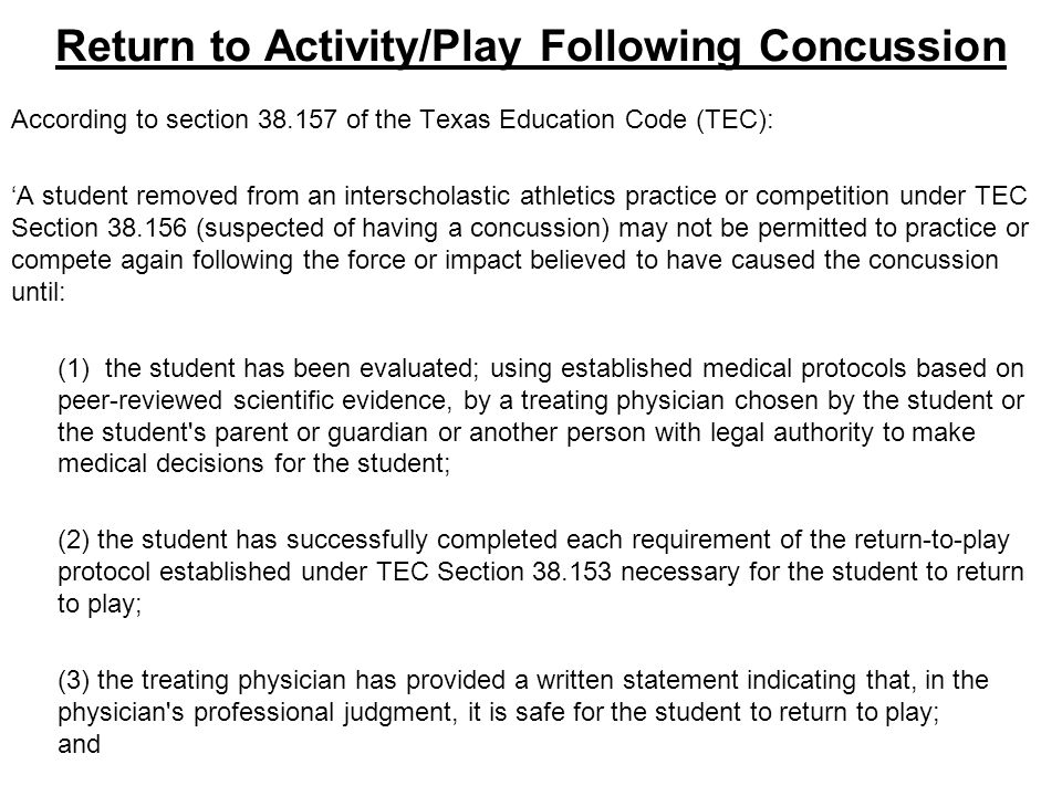 Return to Activity/Play Following Concussion