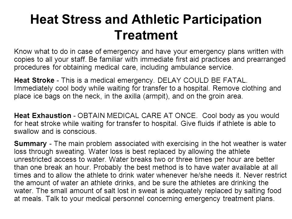 Heat Stress and Athletic Participation Treatment