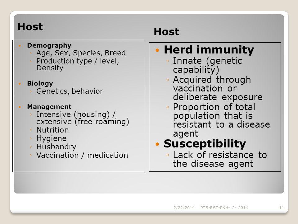 Herd immunity Susceptibility Host Host Innate (genetic capability)