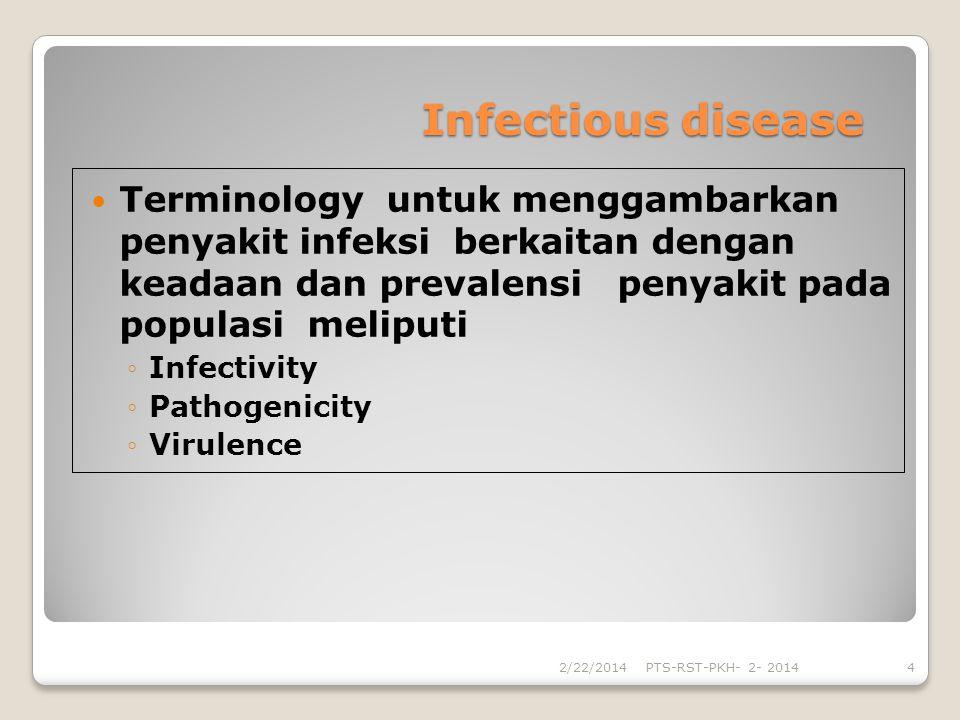 Infectious disease Terminology untuk menggambarkan penyakit infeksi berkaitan dengan keadaan dan prevalensi penyakit pada populasi meliputi.