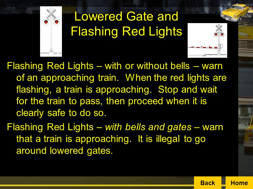Lowered Gate and Flashing Red Lights