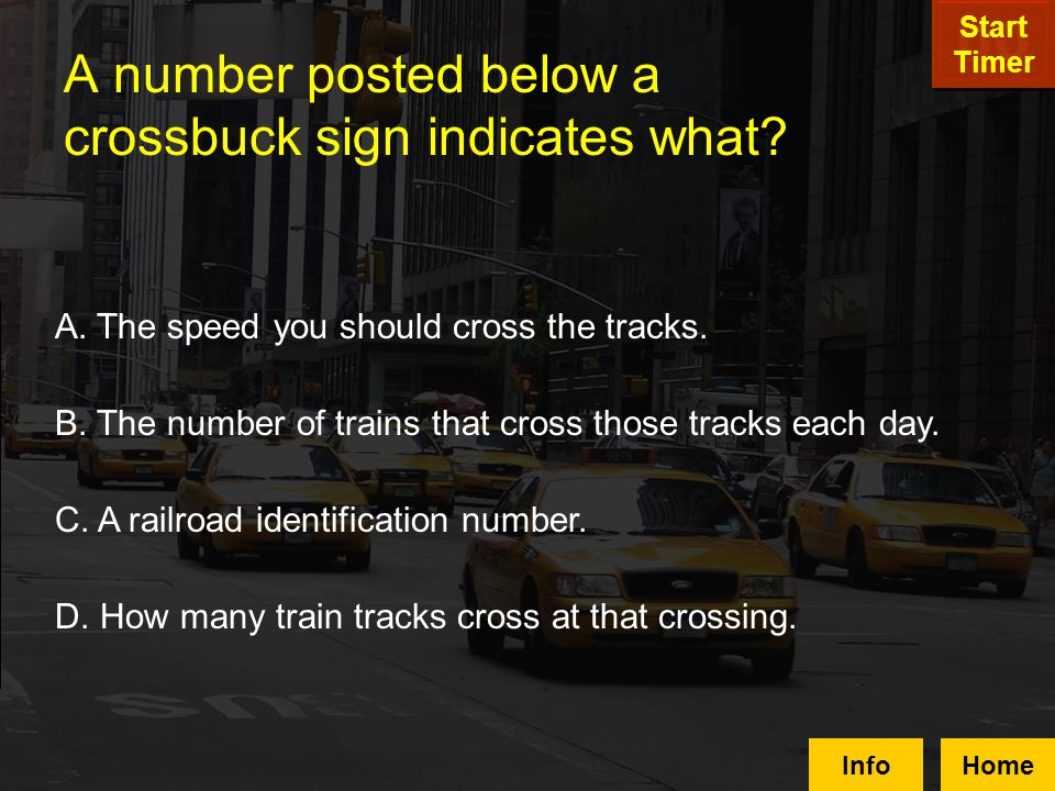 A number posted below a crossbuck sign indicates what