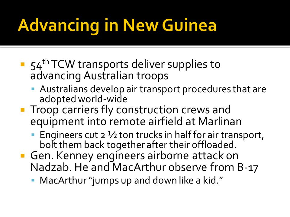Advancing in New Guinea