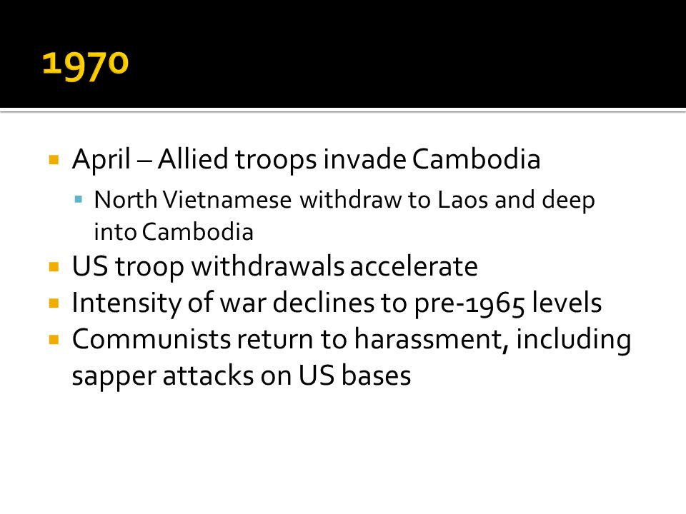 1970 April – Allied troops invade Cambodia