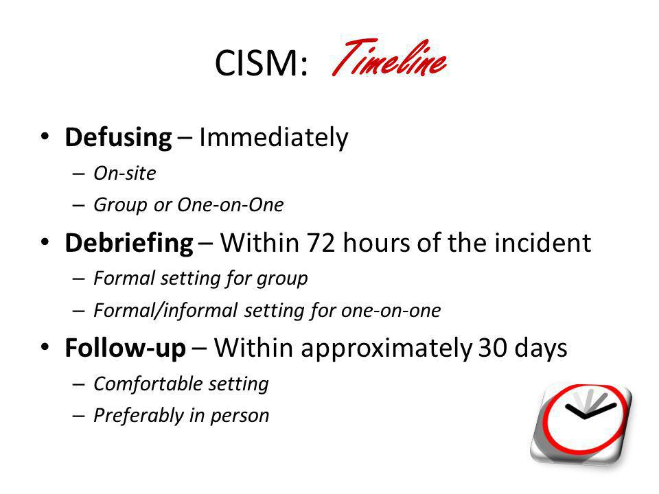 CISM: Timeline Defusing – Immediately