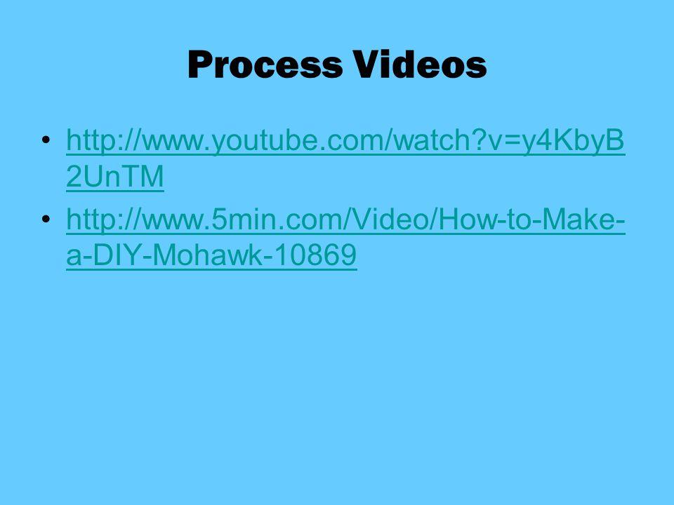 Process Videos http://www.youtube.com/watch v=y4KbyB2UnTM