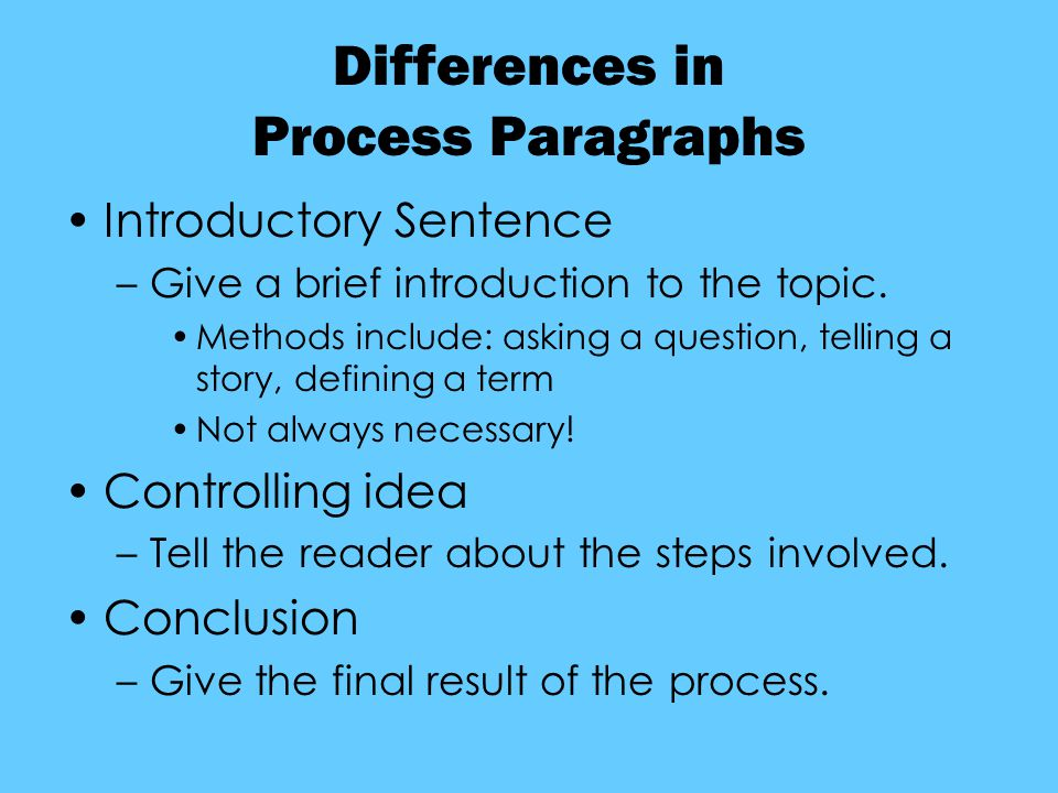 Differences in Process Paragraphs