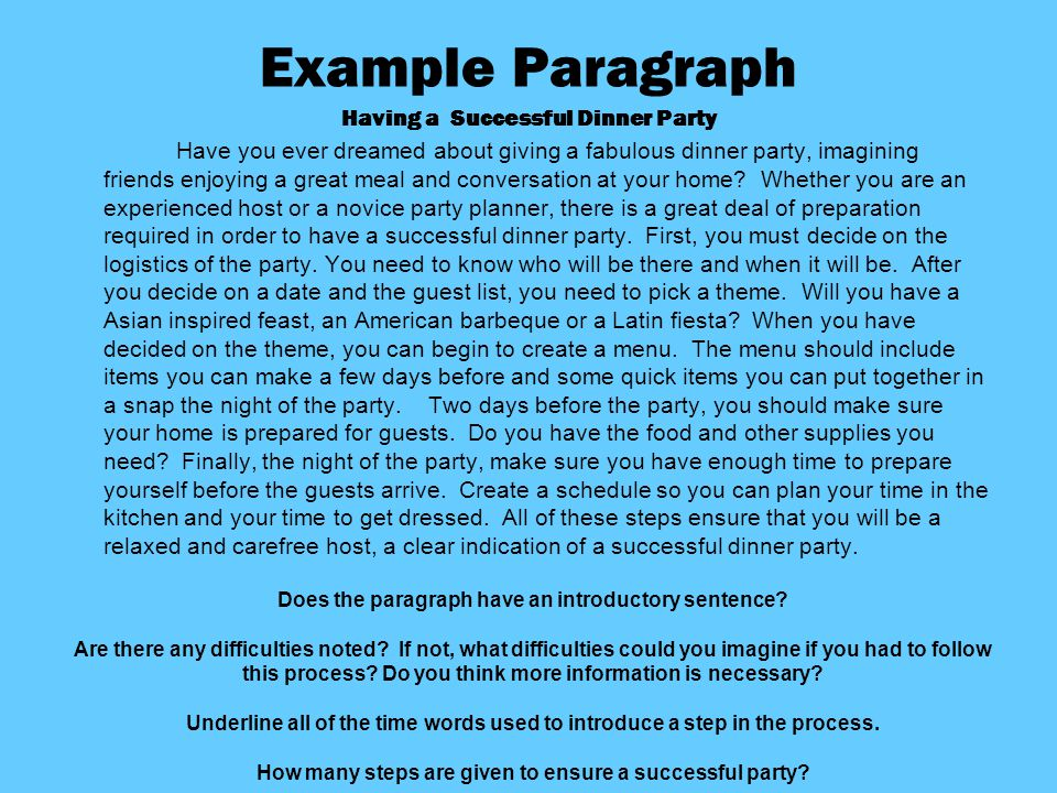 process paragraph planning a party Planning a party can become an overwhelming event, if everything is put off to  the last minute therefore, we have come up with a surefire way.