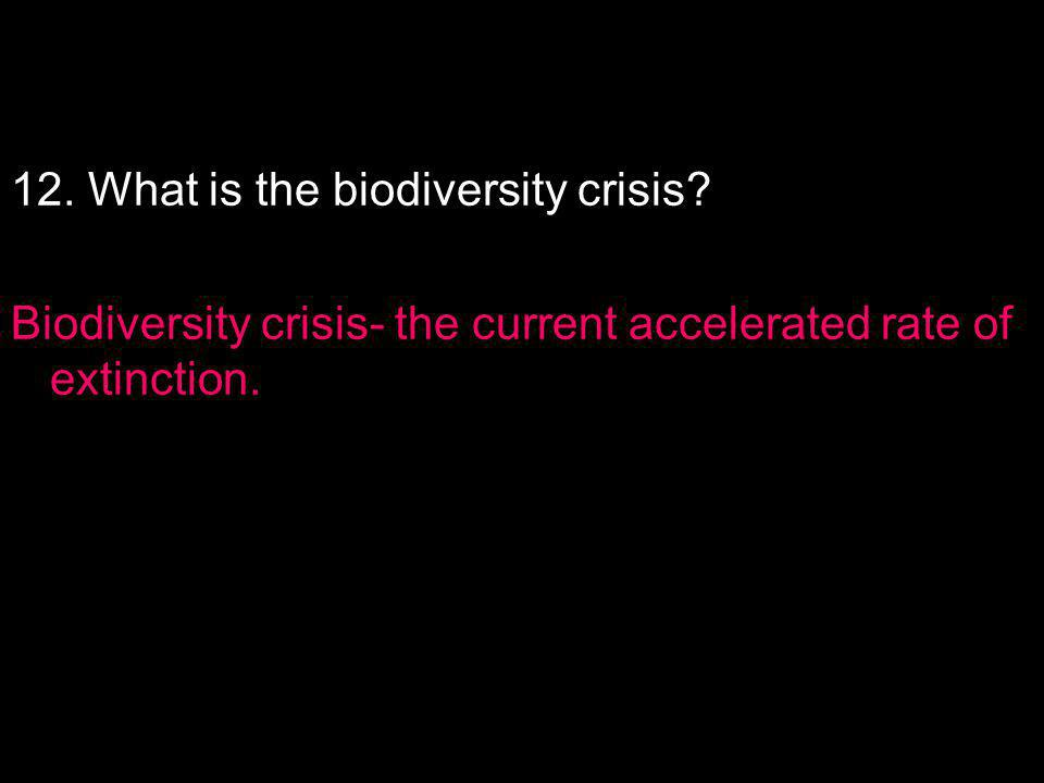 12. What is the biodiversity crisis